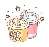 Popcorn, coca cola and doll — Stock Vector