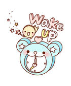 Alarm clock and doll — Stockvector
