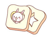 Rabbit and bread — Vector de stock