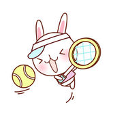 Conejito juega al tenis — Vector de stock