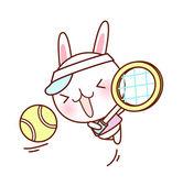 Królik gra tenis — Wektor stockowy