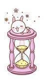 Rabbit and hourglass — Stock Vector