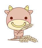 Bull holds ears of wheat — Stock Vector
