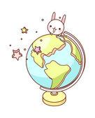 Globe and rabbit — Stock Vector