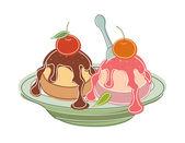 Cherry ice cream — Stock Vector