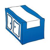 Blue kitchen cupboard — Stock Vector