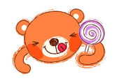 Teddy bear and candy — Stock Vector