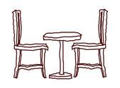 Vektorové stůl a židle — Stock vektor