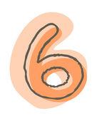 Vettore numero 6 — Vettoriale Stock