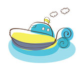 Cartoon boat. — Vector de stock