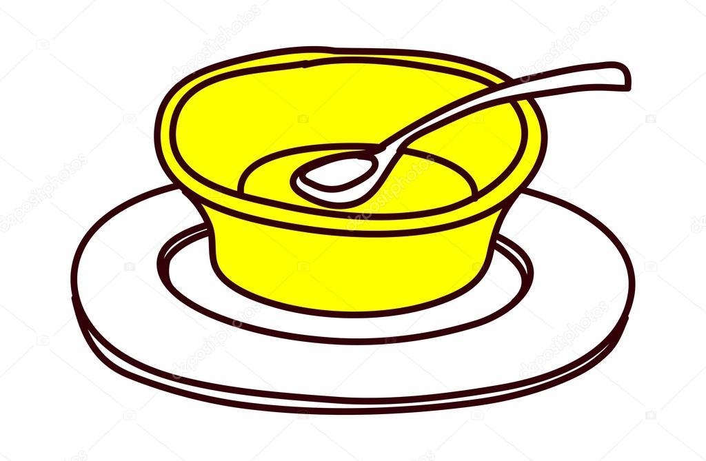 黄色盘子和勺子 — 图库矢量图片
