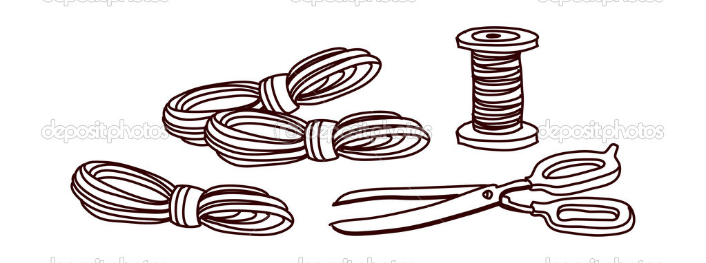 Vector, scissors and  thread on a white background — Stock Vector #13462211