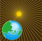 Ziemi i z wschodzącego słońca — Wektor stockowy