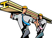Workers carrying i-beam girder — Stock Vector