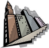 Buildings with stairs — Stock Vector