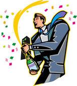Businessman opening a bottle of champagne — Stockvektor