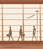 Silhouette people in the airport — Stock Vector