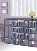 Bookshelf in the office — Stock Vector