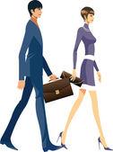Business team walking — Stock Vector