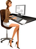 Woman is working on the computer — Stock Vector
