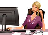 Woman working at the computer — Stock Vector