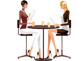 Women are sitting in cafe — Stock Vector