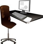 桌子和椅子在办公室 — 图库矢量图片