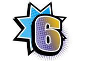 The view of number six — Vector de stock