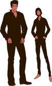 Two men standing — Stock Vector
