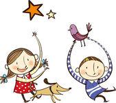 šťastné děti se zvířaty — Stock vektor
