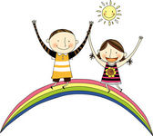 Two children on the rainbow — Stock Vector