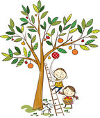 Two kids and the apple tree — Stock Vector