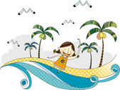 Happy young girl on the seaside — Stock Vector
