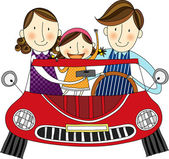 Happy family in the car — Stockvektor