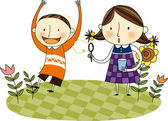 Two happy kids in the field with flowers — Stock Vector