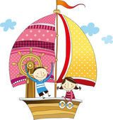 Boy and girl in the ship — Stock Vector