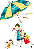 The view of family with umbrella — Stock Vector