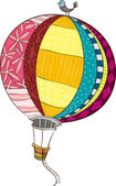 The view of hot-air balloon with bird — Stock Vector