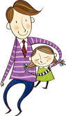 Father is hugging daughter — Stockvector