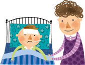 Mother near ailing son — Stock Vector