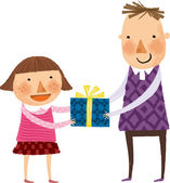 Father gives daughter a gift — Stock Vector