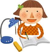 Garota fazendo lição de casa — Vetorial Stock