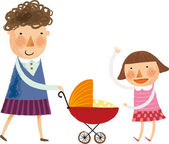 Mother and daughter walking with baby in buggy — Stock Vector