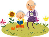 Old couple on nature — Stock Vector