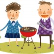 Couple on the barbecue — Stock Vector #45110023