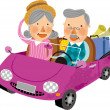 Elderly couple travelling on car — Stock Vector #45111005
