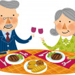 Old couple is sitting at the table with food and wine — Stock Vector #45111137