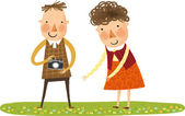Couple with camera on the nature — Stock Vector