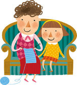 Mother and daughter embroider — Stock Vector
