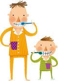 Vader en zoon tanden poetsen — Stockvector